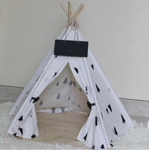 Foldable Pet Outdoor Indoor Teepee For Camping or Indoors With Cushion - Harris & Bains Pet Shop