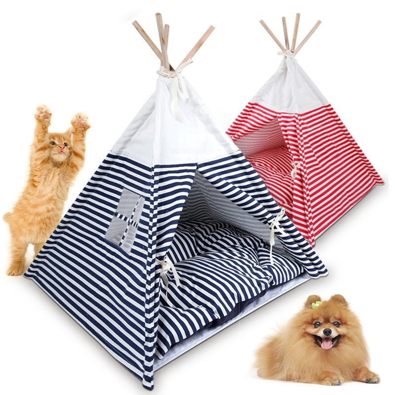 Portable Pet Teepee Camping Tent Pet Bed Foldable  ( with Cushion ) - Harris & Bains Pet Shop