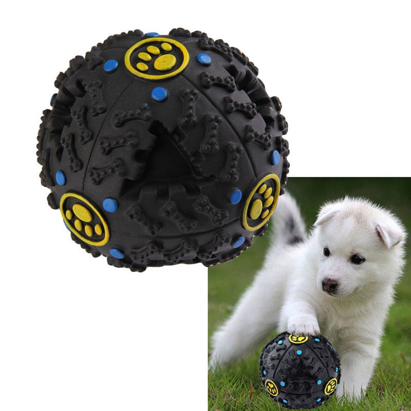 7.5cm Funny Pet Food Dispenser Toy Ball  with Squeaker Quack Sound - Harris & Bains Pet Shop