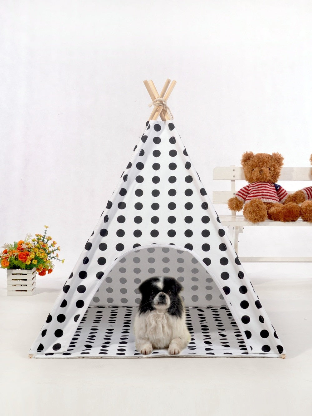 "Large Polka Dot  Canvas Dog Teepee 28"" - Harris & Bains Pet Shop"