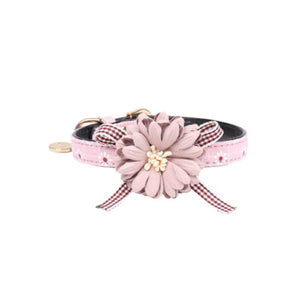 Cute Princess Dog or Cat Collar PU Leather Rose Flower Adjustable - Harris & Bains Pet Shop