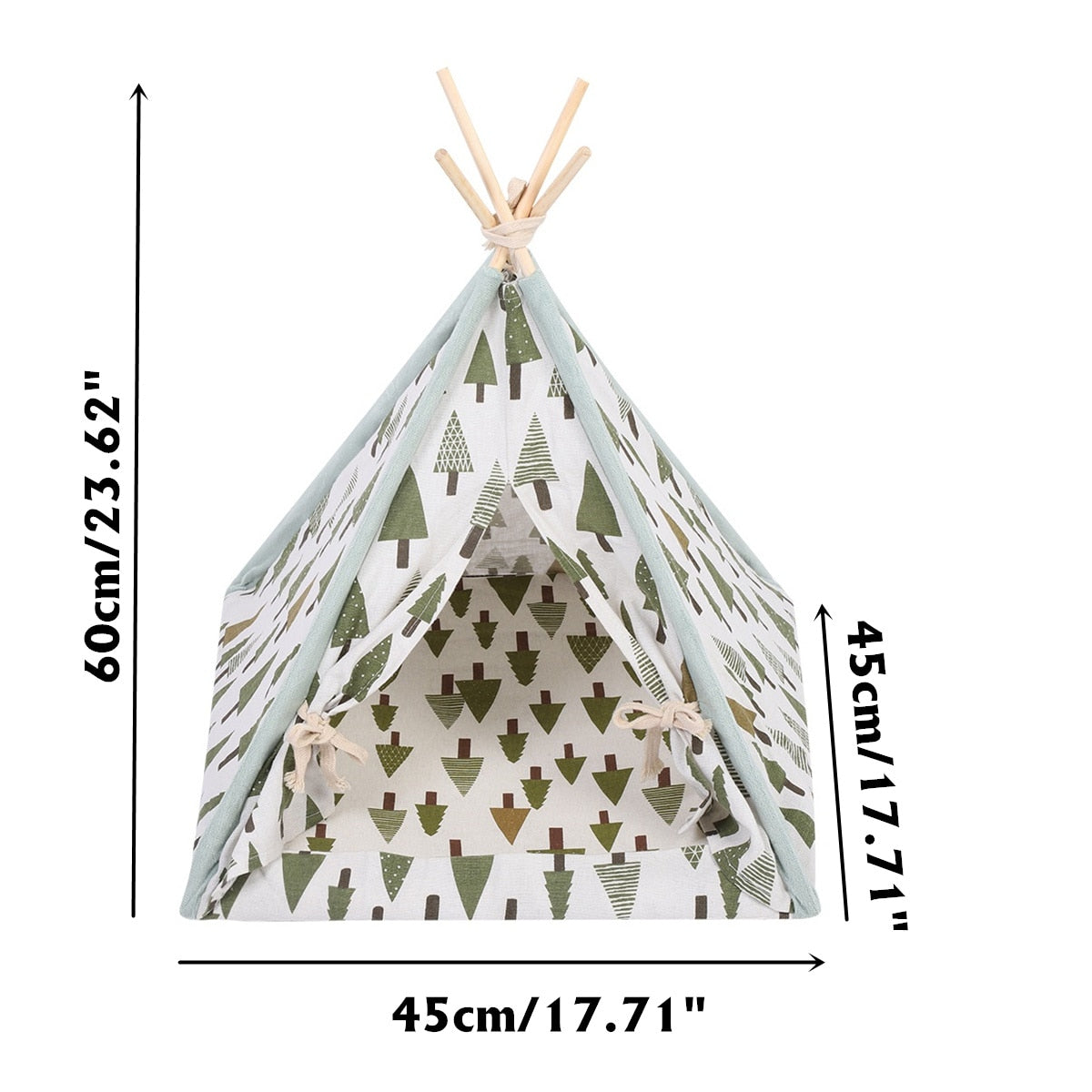 Large Foldable Linen Pet Washable Indoor & Outdoor Portable Teepee - Harris & Bains Pet Shop
