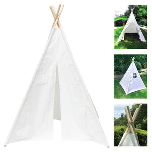 "47"" Teepee White Cotton Canvas Kids Children Playhouse - Harris & Bains Pet Shop"