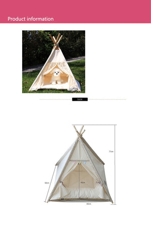 Lace Pattern Foldable Portable Pet Teepee With Mat - Harris & Bains Pet Shop