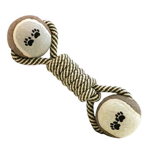 Cotton Dog Rope Chew Tug Toy Knot Bone Ball - Harris & Bains Pet Shop
