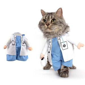 Funny Dogs Cat Costume Doctor Suit Clothes - Harris & Bains Pet Shop