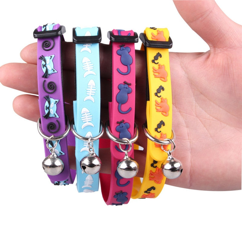 Adjustable Breakaway Cat Collar With Bell Rainbow - Harris & Bains Pet Shop