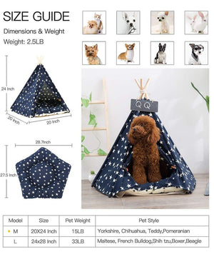 Pet Teepee Portable Washable With Star Pattern With Cushion - Harris & Bains Pet Shop