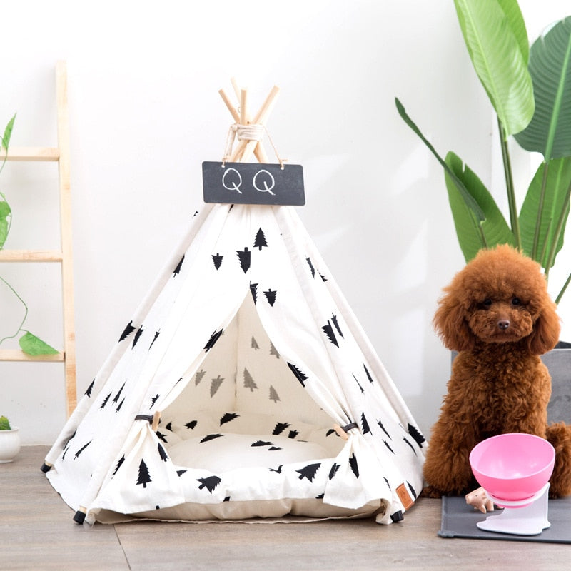 Pine Pattern Pet Teepee Portable Washable No Cushion - Harris & Bains Pet Shop