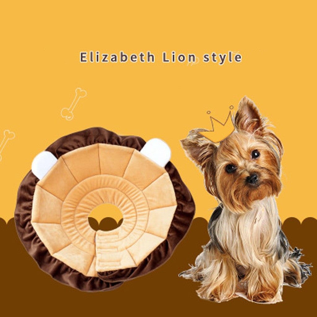 Cute Lion Healing Collar Dog Cat Pet Dog Neck Circle Anti-bite Wound Healing Ring Shape - Harris & Bains Pet Shop