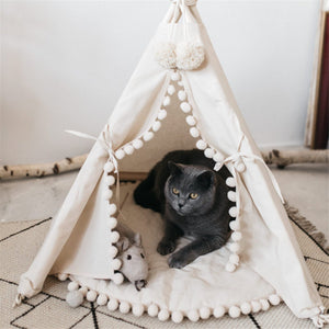Beautiful Pom Pom Portable Teepee White Washable With Mat - Harris & Bains Pet Shop