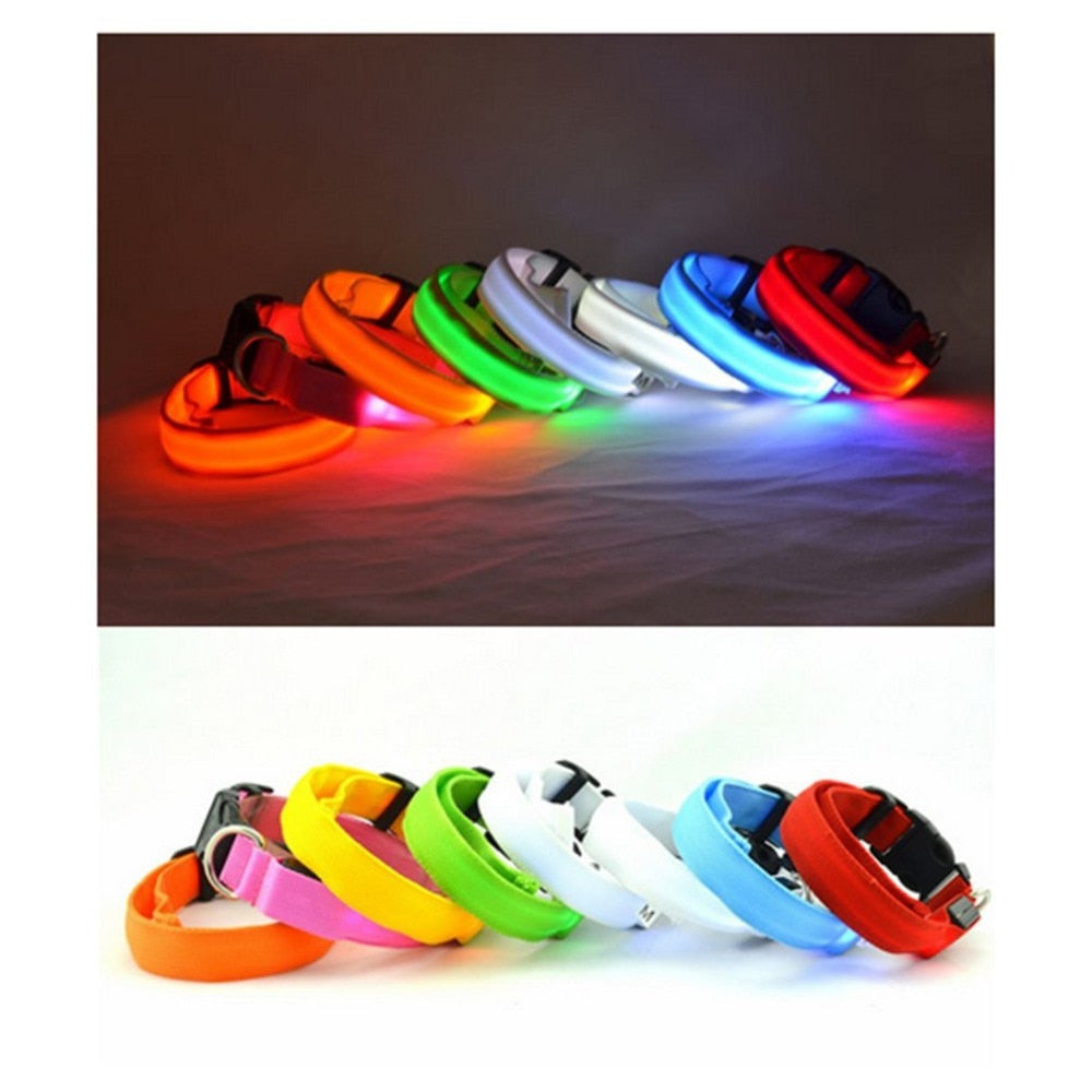 Multi-color Nylon LED Collar For Night Safety Anti-lost Flashing Glow - Harris & Bains Pet Shop