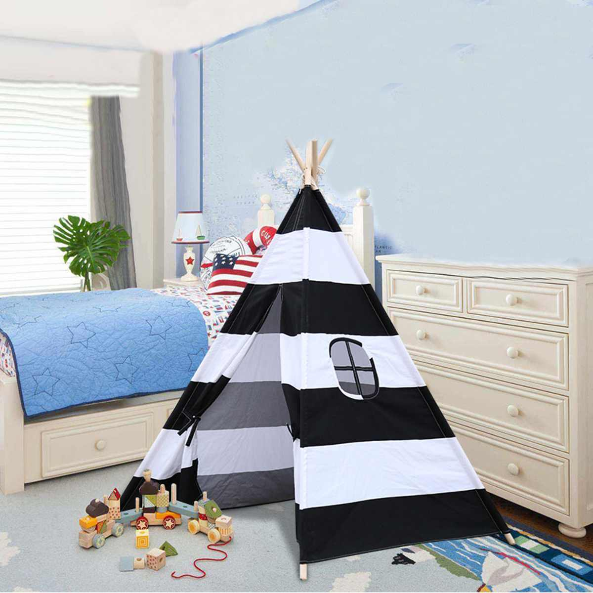 Folding Portable Kids Large Canvas Teepee For Indoor & Outdoor - Harris & Bains Pet Shop