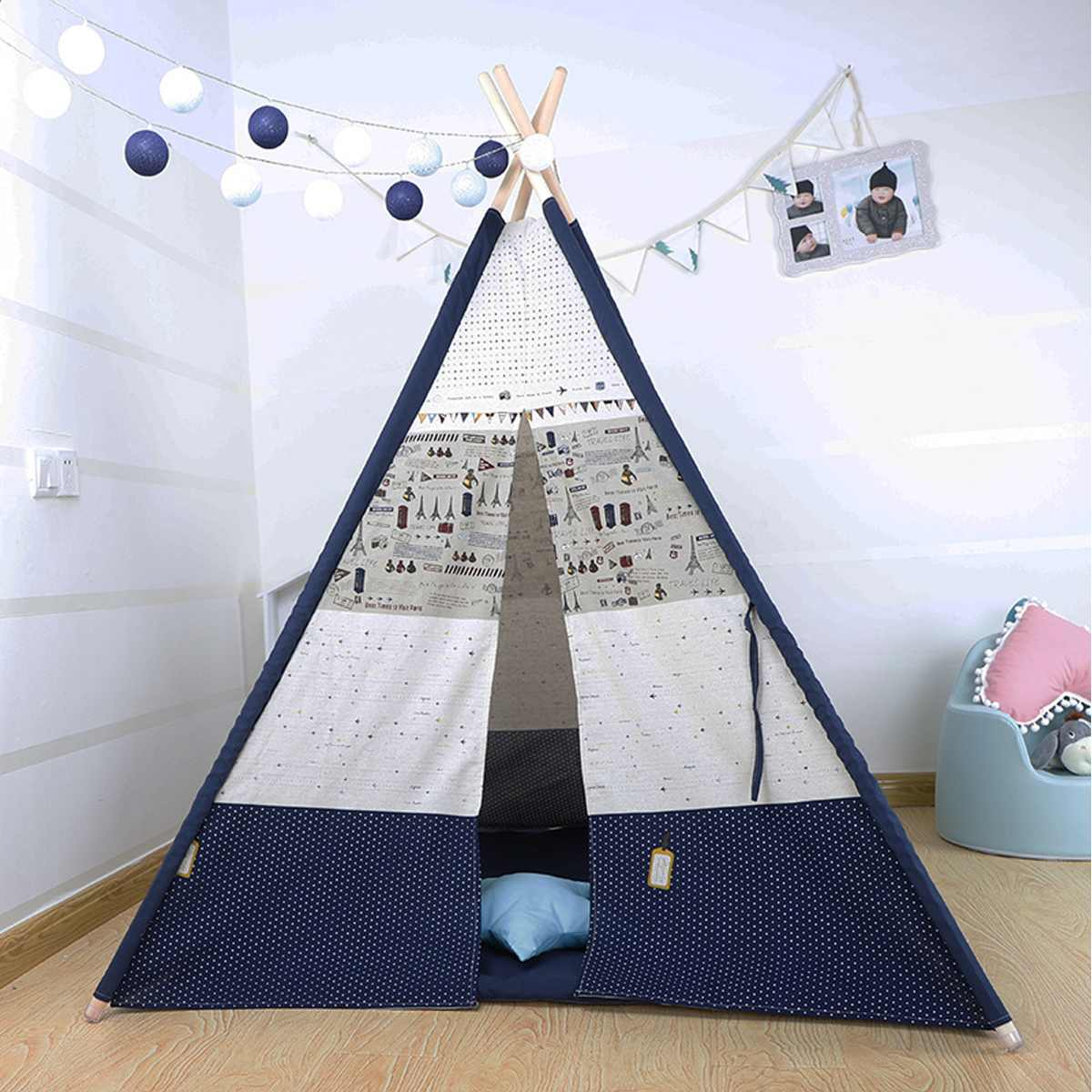 Large Kids Canvas Teepee Outdoor & Indoor - Harris & Bains Pet Shop