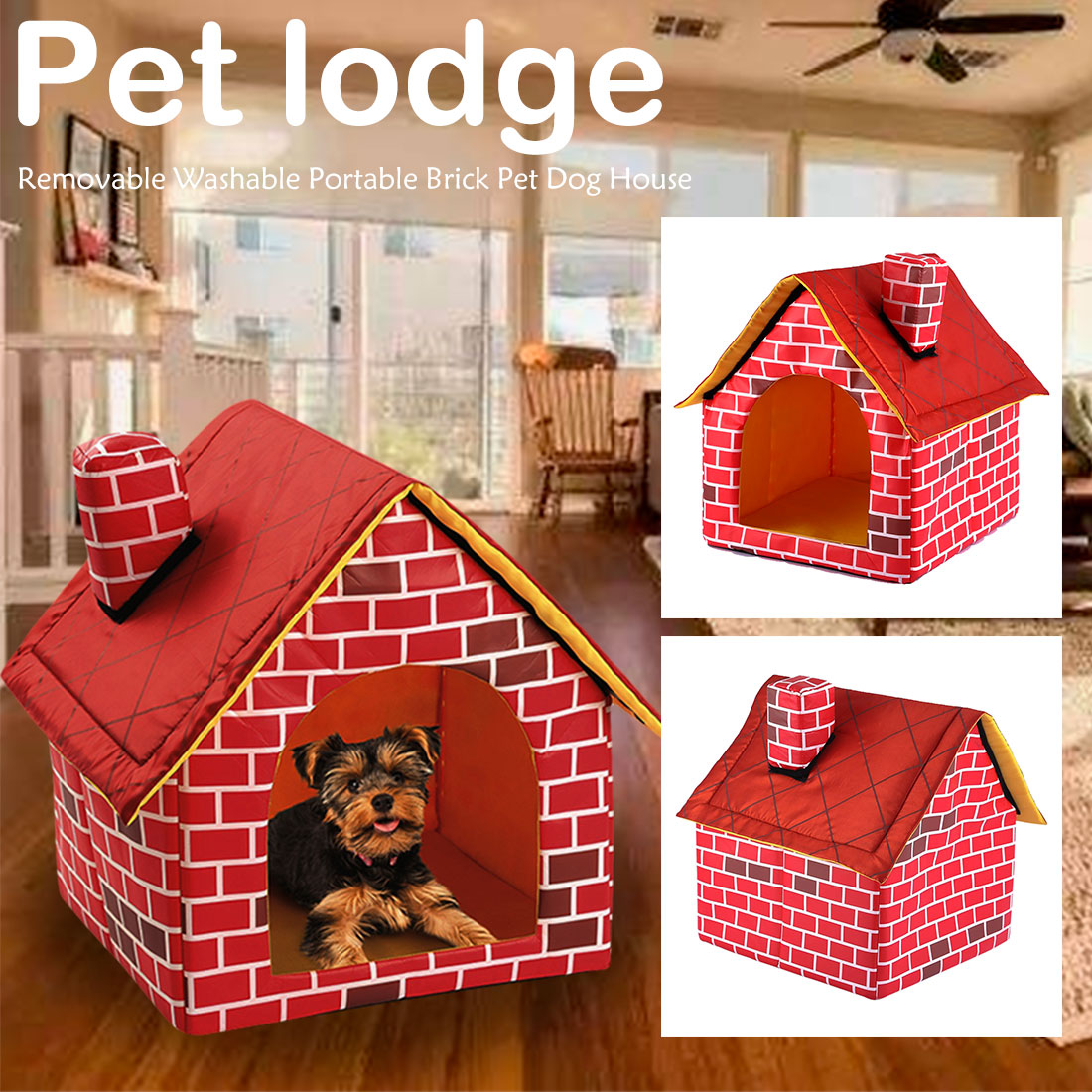 Red Brick Dog House For Small Medium Dogs Indoors - Harris & Bains Pet Shop