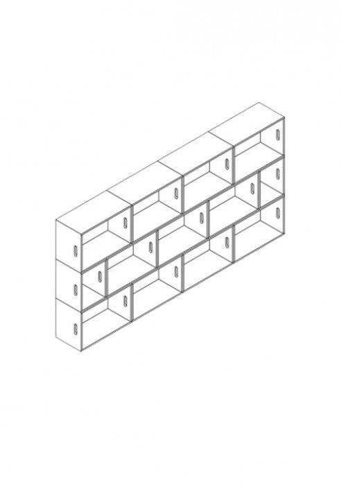 Brickbox XL - 4 Wide Low Height Bookshelf / wardrobe