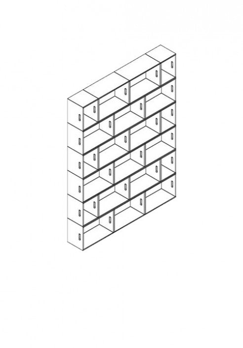 Brickbox XL - 3 Wide x 6 levels Tall bookshelf / wardrobe