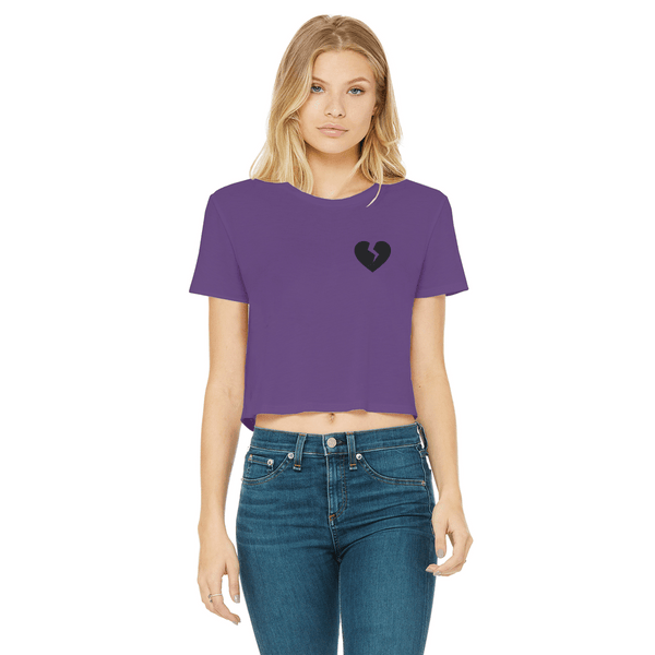 Broken Heart Women's Cropped Raw Edge T-Shirt