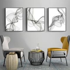 Black and White Abstract Wavy Lines Canvas Wall Art
