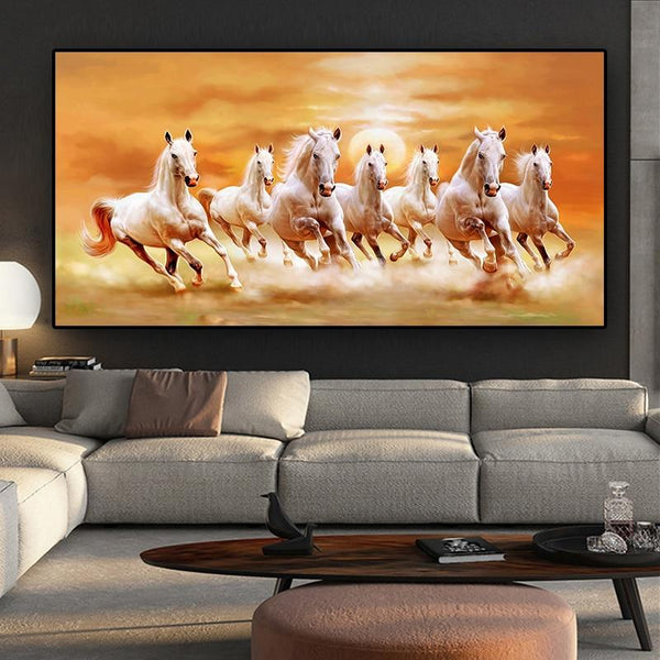 Artistic Animal Seven White Horse Canvas