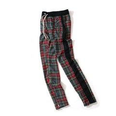 Mens Vintage Plaid Ankle Zipper Pants