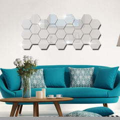 Geometric 3D Hexagon Wall Mirror Sticker