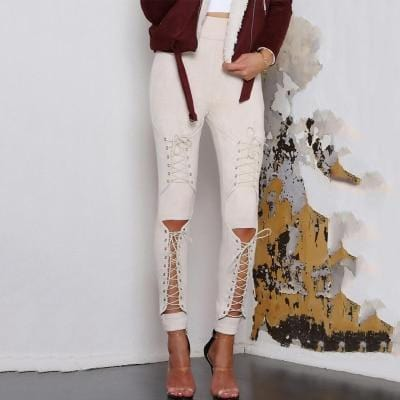 Suede Leather Lace Up Pencil Pants