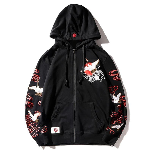 Embroidered Crane Zipper Hoodie