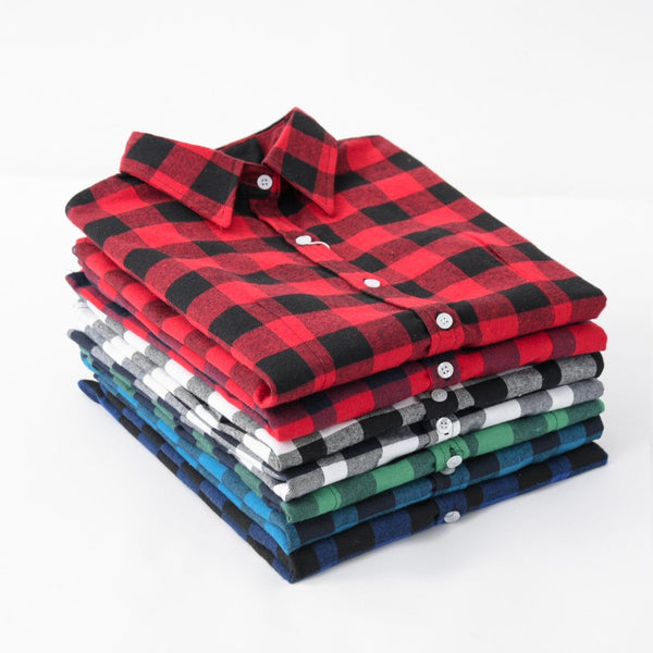 Women Flannel Plaid Shirt Plus Size