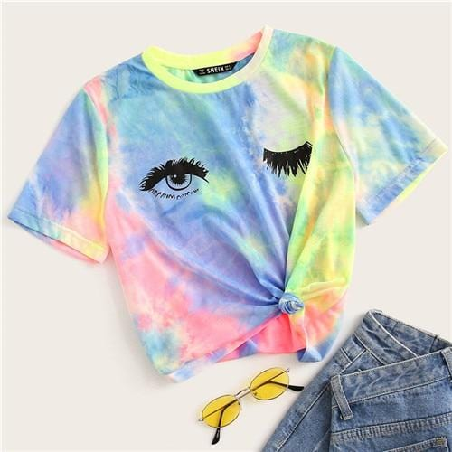 Multicolor Tie Dye Eye And Eyelash Print T Shirt