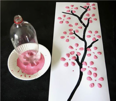 14 - Reuse Plastic Bottle Flower Paint Stamp Art Work - FOSH
