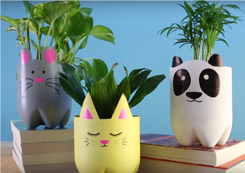 15 - Recycle Plastic Bottle Animal Plant Pots - FOSH