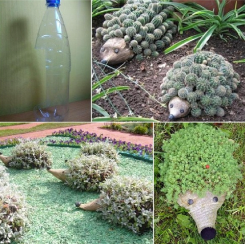 21 - Reuse Plastic Bottle Garden Hedgehog Feature - FOSH