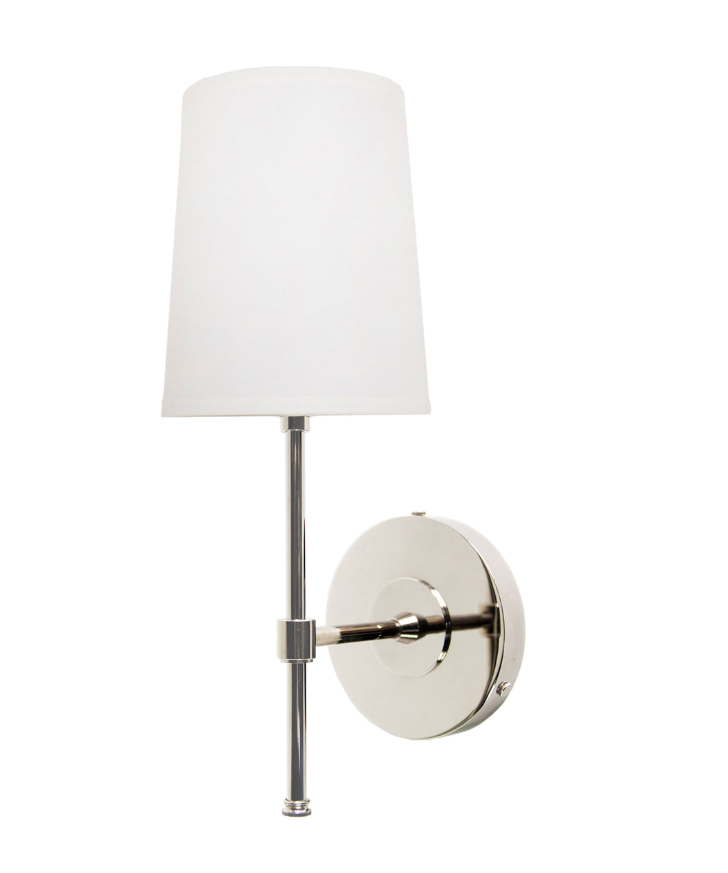 Annapolis Wall Sconce with Linen Shade, Polished Nickel