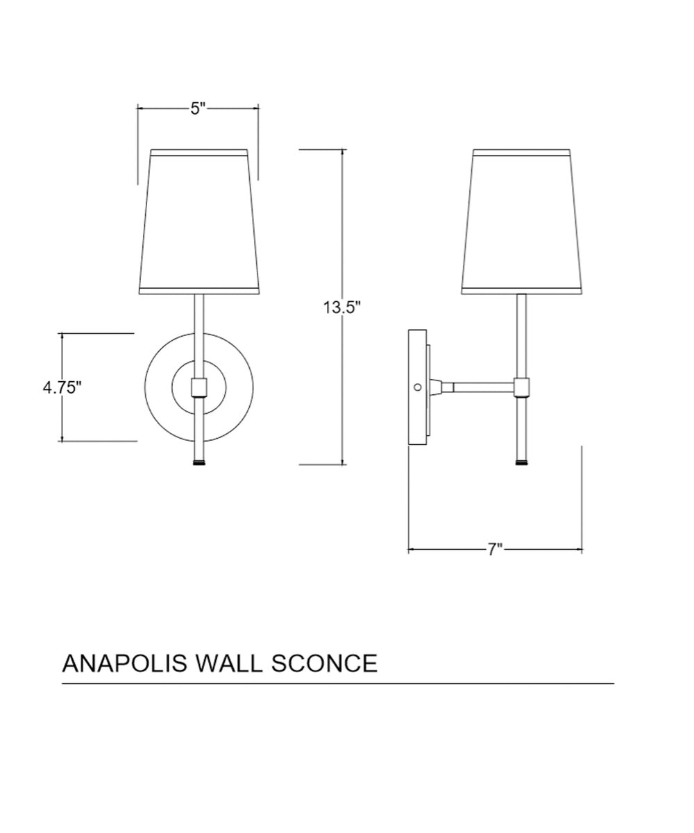 Annapolis Wall Sconce With Linen Shade Polished Nickel