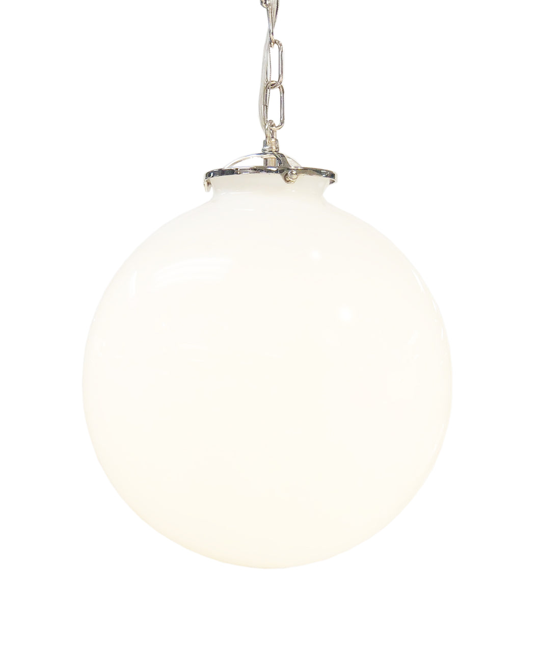 Beaumont Globe Pendant, Polished Nickel with White Glass Globe
