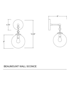 Beaumont Wall Sconce, Polished Nickel and Clear Glass Globe