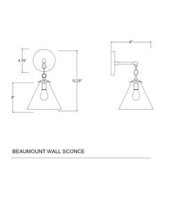 Beaumont Wall Sconce, Polished Nickel and Clear Glass Tapered Shade