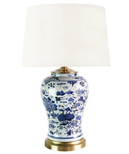 Lotus Flower Blue & White Table Lamp
