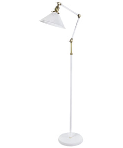 Bradley Floor Lamp, White and Antique Brass