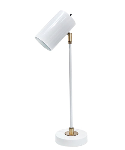 Dexter Task Lamp, White with Antique Brass