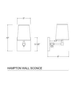 Hampton Pivoting Wall Sconce with Linen Shade, Bronze
