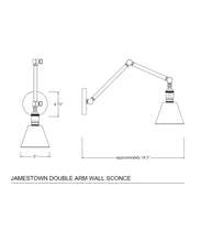 Jamestown Double Arm Wall Sconce, Polished Nickel