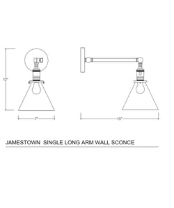 Jamestown Single Long Arm Wall Sconce with Tapered Clear Glass Shade, Polished Nickel