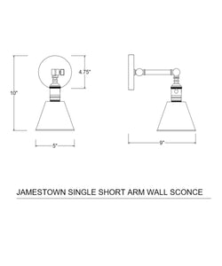 Jamestown Single Short Arm Wall Sconce, Bronze