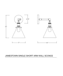 Jamestown Single Short Arm Wall Sconce with Tapered Clear Glass Shade, Bronze