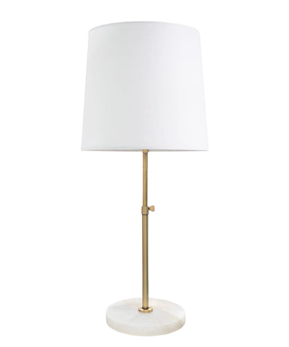 Morris Table Lamp, Antique Brass with Alabaster Base