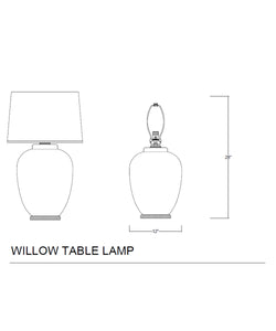 Willow Table Lamp, Matte Charcoal