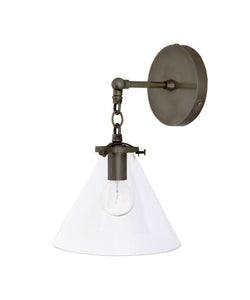 Beaumont Wall Sconce, Bronze and Clear Glass Tapered Shade
