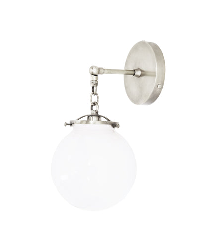 Beaumont Wall Sconce, Polished Nickel and White Glass Globe